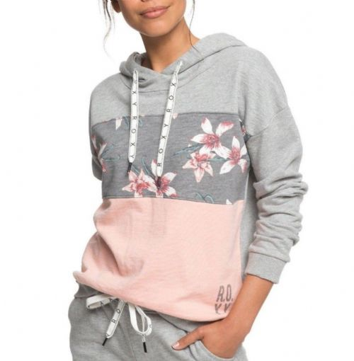 ROXY WOMENS HOODIE.INSIDE COCOON HOODY HOODED FLOWERED GREY FLEECE TOP 8W 2 KPG6